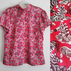Julie Brown zebra print blouse top tie neck red 6